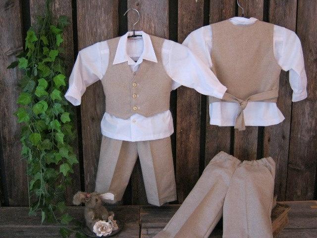 Linen suit for boys. Ring bearer,wedding,formal,vest,shirt and pants.. €64.00, via Etsy.