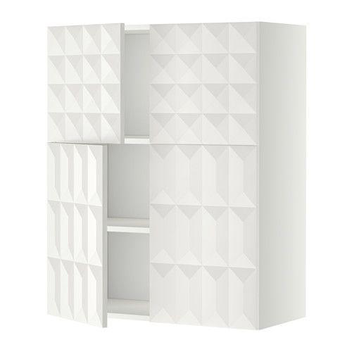Dubbele dressoirkast: METOD Bovenkast m planken/4 deuren - wit, Herrestad wit - IKEA