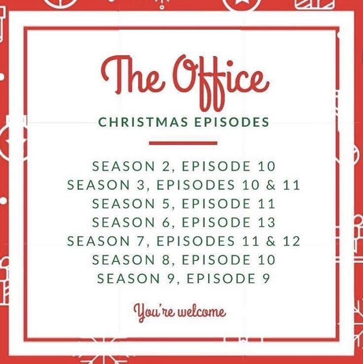 A List Of All The Christmas Episodes Of The Office Christmas Episodes Office Christmas Episodes Friends Christmas Episode