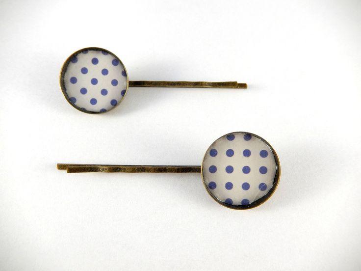 Duo de barrettes cabochon rétro pois bleus : Accessoires coiffure par creation-ninie