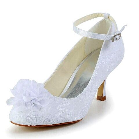 Elegant Women's Wedding Shoes With Lace and Flower Design Color: WHITE,  BEIGE Size: