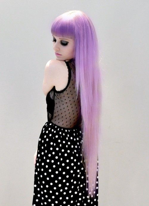 pastel goth, polka dot dress, purple hair, wig