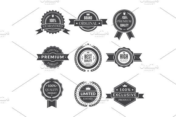 Vintage Template Of Monochrome Premium Labels For Guarantee Bestseller And Others Vector Stickers Vintage Template Free Vector Art Monochrome