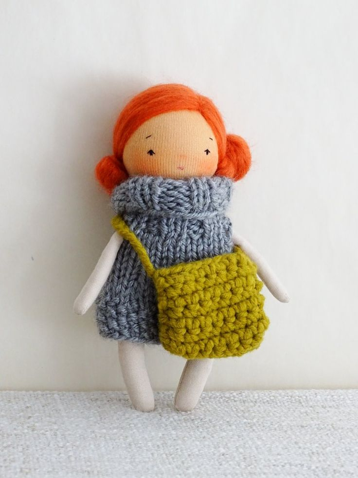 Image of Little red haired girl, cloth doll 7 inches tall, ready to go
