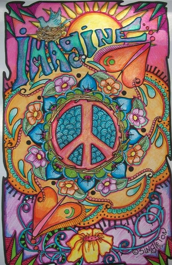 Imagine Peace and Love, Singleton Hippie Art Poster, Fully hand colored by…