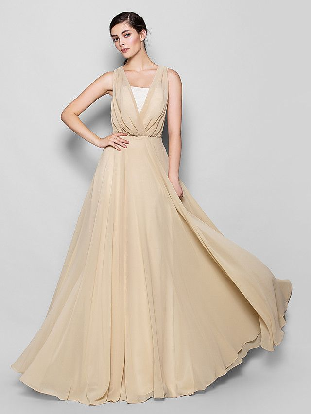Aライン ブライドメイドドレス シャンパン シフォン ストラップレス/Vネック フロア - USD $109.99