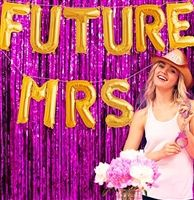 Future Mrs Gold Mylar Balloons For A Pink And Wedding Bachelorette Party Decoration Idea