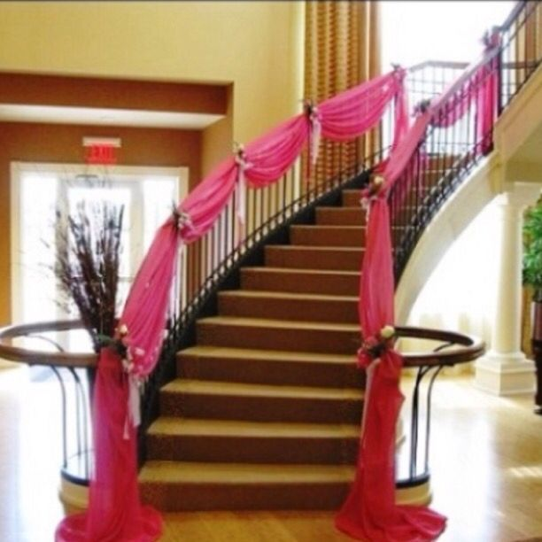 213 best stairway decorations images on pinterest flower pink draped staircase drapery wedding junglespirit Choice Image