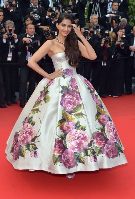 Sonam Kapoor once again stole the thunder on the red carpet dressed in a custom Dolce & Gabbana floral ballroom gown on Day 2 of the 66th Annual Cannes Film Festival at Grand Theater Lumiere on May 16, 2013 in Cannes, France.