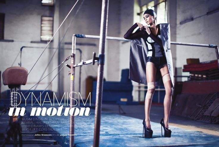 """sports luxe ☆ """"DYNAMISM IN MOTION"""" editorial for Elle Indonesia October 2010 photo - julius bramanto make up & hair do - husein yunior using lancôme model - advina ratnaningsih @ b mgt stylist assistant - asti tiara"""