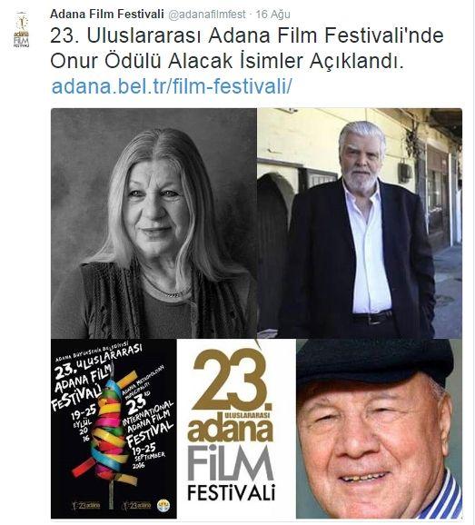Adana Büyükşehir Belediyesi tarafından düzenlenen 23. Uluslararası Adana Film Festivali'nin Onur Ödülleri, bu yıl oyuncular Ayla Algan  ve Murat Soydan ile yazar Osman Şahin'e takdim edilecek.