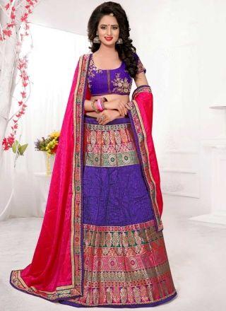 Purple Magenta Embroidery Work Banarasi Silk Fancy Designer Wedding Lehenga Choli http://www.angelnx.com/Lehenga-Choli/Designer-Lehenga-Choli