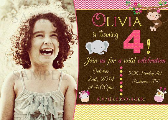 Jungle invitation - girl safari invitation - jungle brown invite - jungle printable - jungle baby shower - jungle birthday - safari invite
