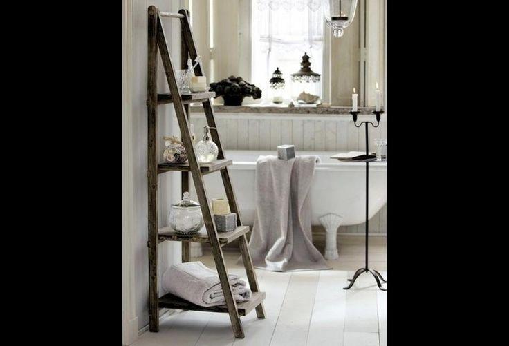 A Step Ladder Becomes Bathroom Shelving Bathroom