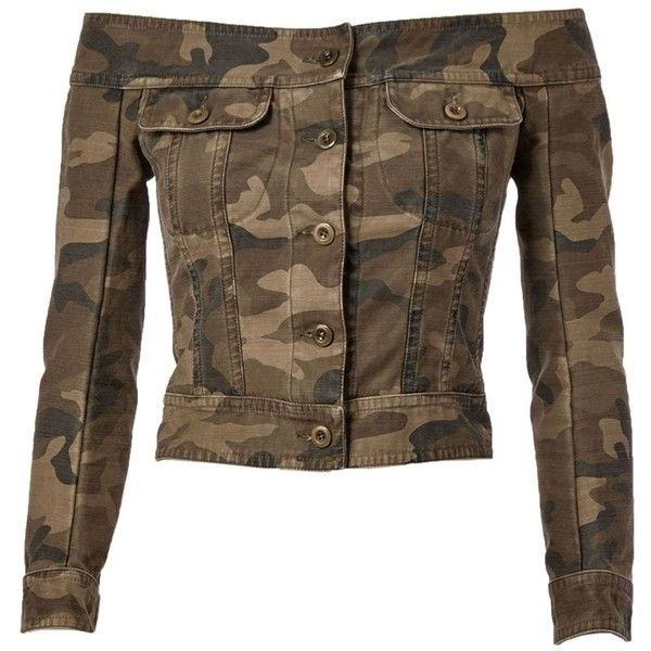 Faith Connexion Off Shoulder Military Denim Jacket ($550) ❤ liked on Polyvore featuring outerwear, jackets, green, camo jacket, brown jean jacket, camouflage jacket, green jacket and green jean jacket