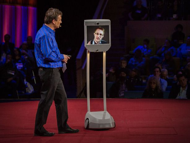 Edward Snowden Speaks at the TED2014 Conference via a Telepresence Robot About the Internet and the NSA
