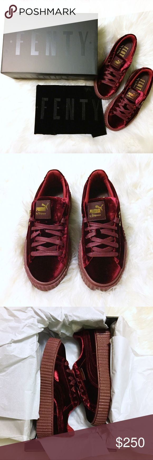 Fenty x PUMA Velvet Burgundy Creepers Fenty x PUMA women's US 6.5, UK 4 velvet creepers in the purple colorway according to box (also described as burgundy or red online). Will ship double boxed as shown in last photo. Purchased from six02.com. No invoice or packing slip was included. Selling to recoup my money (posh takes 20%) as 5.5 fit me better than 6 or 6.5 - I'm a true 6. OFFERS MUST GO THROUGH OFFER BUTTON❣️ I do not trade Please ask questions beforehand, and feel free to bundle with…