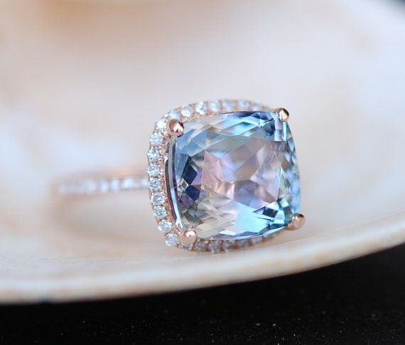 reserved for LB - Tanzanite Ring. Rose Gold Engagement Ring Lavender Mint Tanzanite Cushion halo engagement ring 14k rose gold.