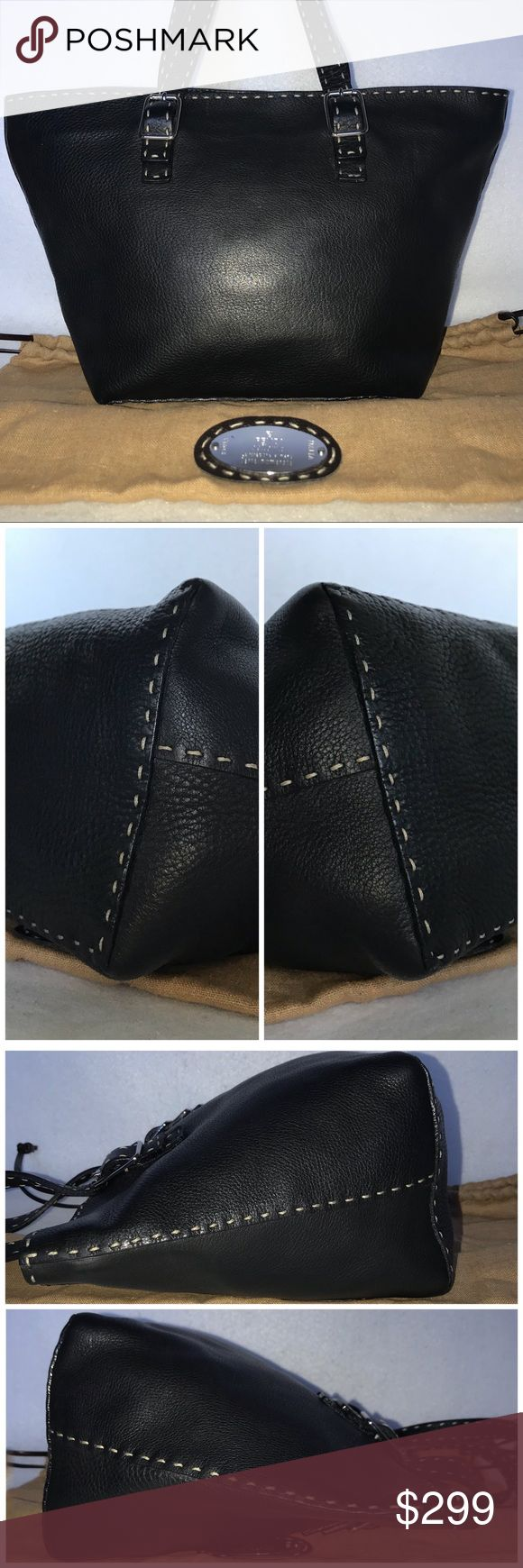 """EXCELLENT Fendi Selleria Leather Tote & Dust Bag 👉 Priced to sell.  TRADE VALUE: $500 👈  🎁 EXCELLENT CONDITION 🎁  🎁 NOTE:  It's RARE to find a Fendi Selleria w/ a Selleria dust bag! VERY VALUABLE!!  Leather is freshly polished. No scuffing, rips or odors.  Height: 9.5"""" Length: 15"""" Depth: 5.5"""" Strap Drop: 7"""" (adjustable)  🎁  Includes FENDI Selleria Dust Bag (VERY RARE) 🎁 Fendi Bags Totes"""