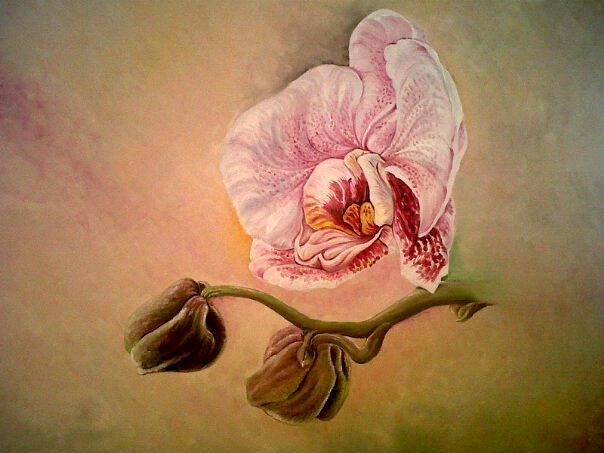 One of my paints: This paint of Orchid flower is one of my best. Oil on Canvas 70x100cm. 2011.