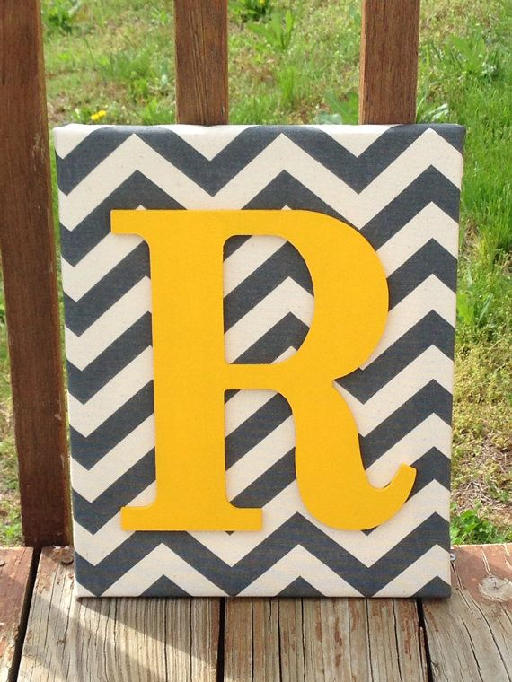 """Personalized Grey Chevron With Yellow Initial Canvas Wall Art 11""""x14"""" Customized Boys And Girls Room Decor"""