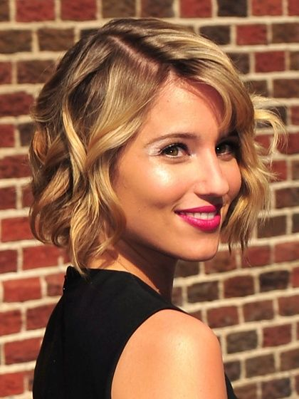 A haircut just above the shoulders can be a great length for thin hair, since it adds fullness and body, like Dianna Agrons style.