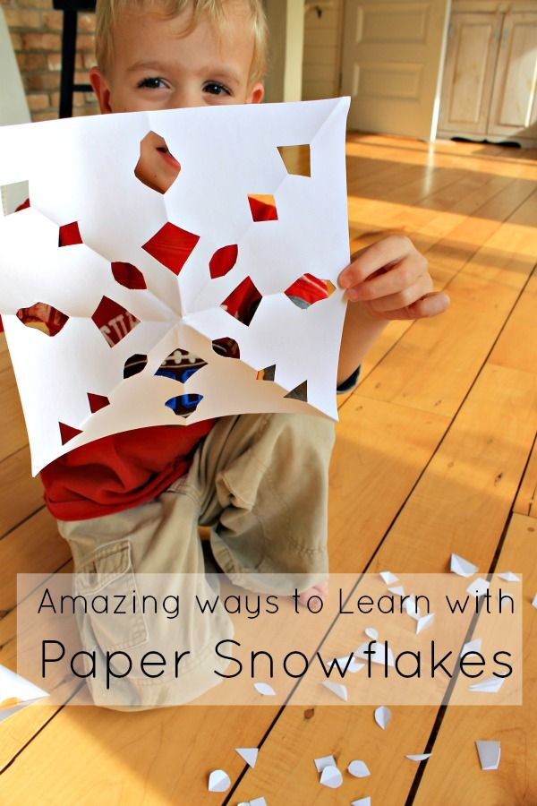 Simple snowflake symmetry is an amazing learning opportunity for preschoolers. So many math activities happen with a simple snowflake activity.