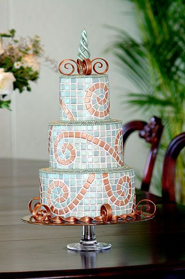 Mosaic wedding or celebration  cake. Beautiful artwork!