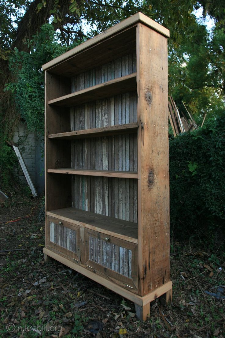 Galvanized tin on the back of the bookcase and in the doors