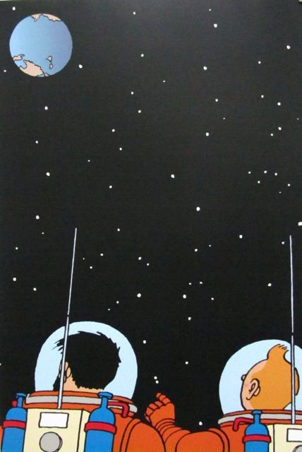 "Tintin  and  Captain  Haddock  in  ""Explorers  on  the  Moon"" ."