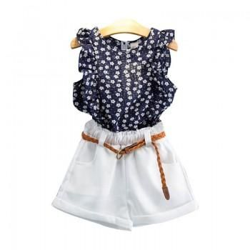 Floral & Ruffled Sleeveless Top & Shorts Set for Girls