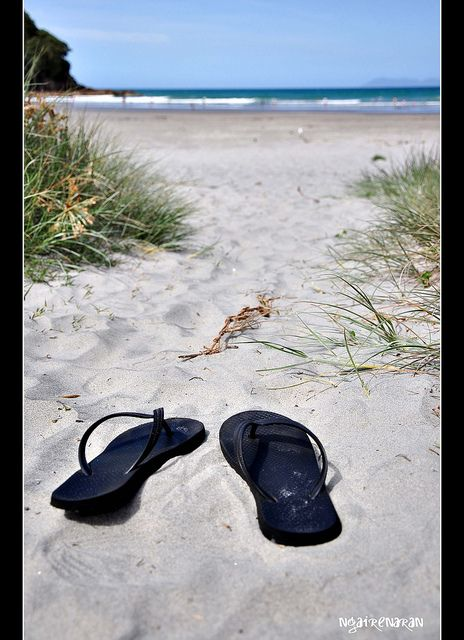 Waihi Beach (could be Dr's Point) and jandels, our favourite beach foot wear.