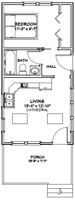 14x28 Tiny House -- #14X28H3B -- 391 sq ft - Excellent Floor Plans