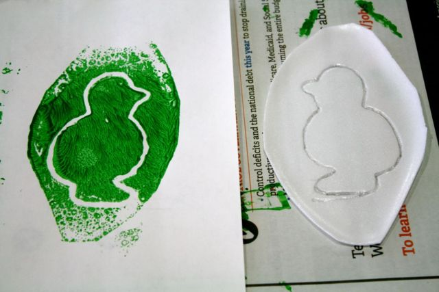 Styrofoam Plate Printmaking art activity for kids, inspired by A Sick Day for Amos McGee - offtheshelfblog.com