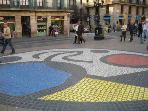 Joan Miró's striking Pavement Mosaic on The Rambla del Centre in Barcelona.