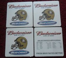 Lot of (4) 2000 San Francisco 49ers Budweiser Beer NFL Football Coaster Schedule
