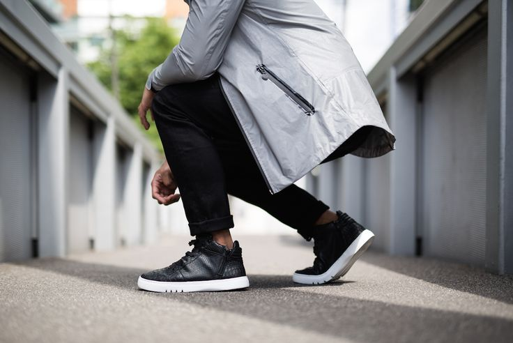 Creative Recreation CARY Hybrid Reflective Jacket & ADONIS Mid in Black Croc
