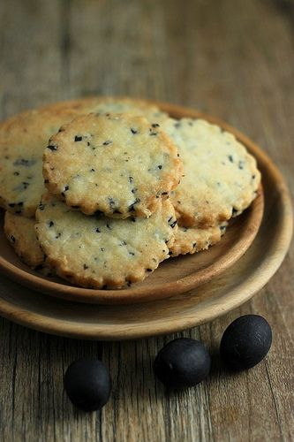 Pierre Herme's Sable a L'olive Noir (Black Olive Cookies). This is like