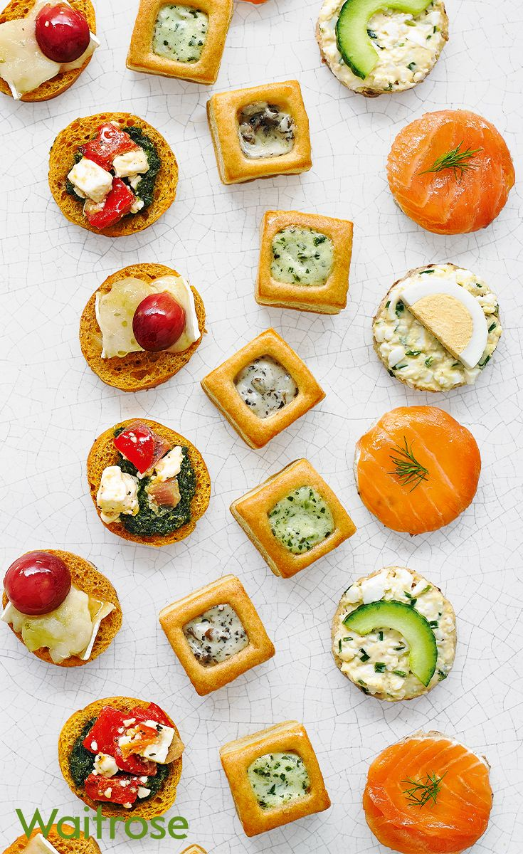 From Brie and gooseberry crostinis to salmon and soft cheese canapés, our 60 piece canapé selection is perfect for larger celebrations. Find more canapé selections on the Waitrose Entertaining website.