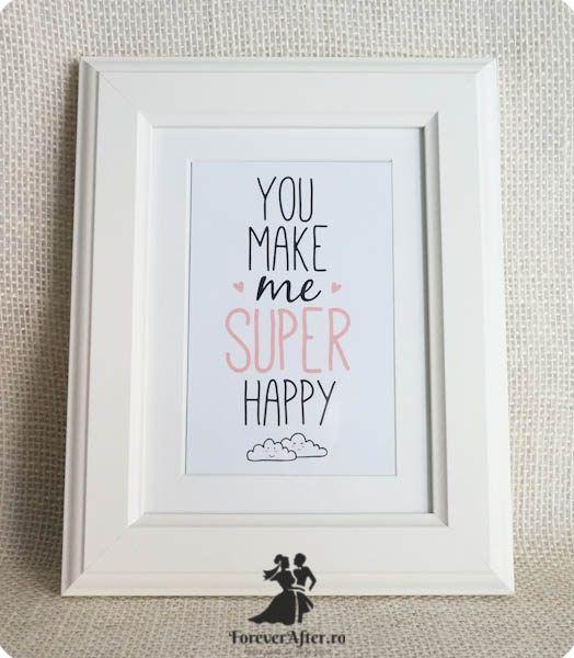 Rama cu mesaj Super Happy   Accesorii nunta - Mesaje   ForeverAfter.ro