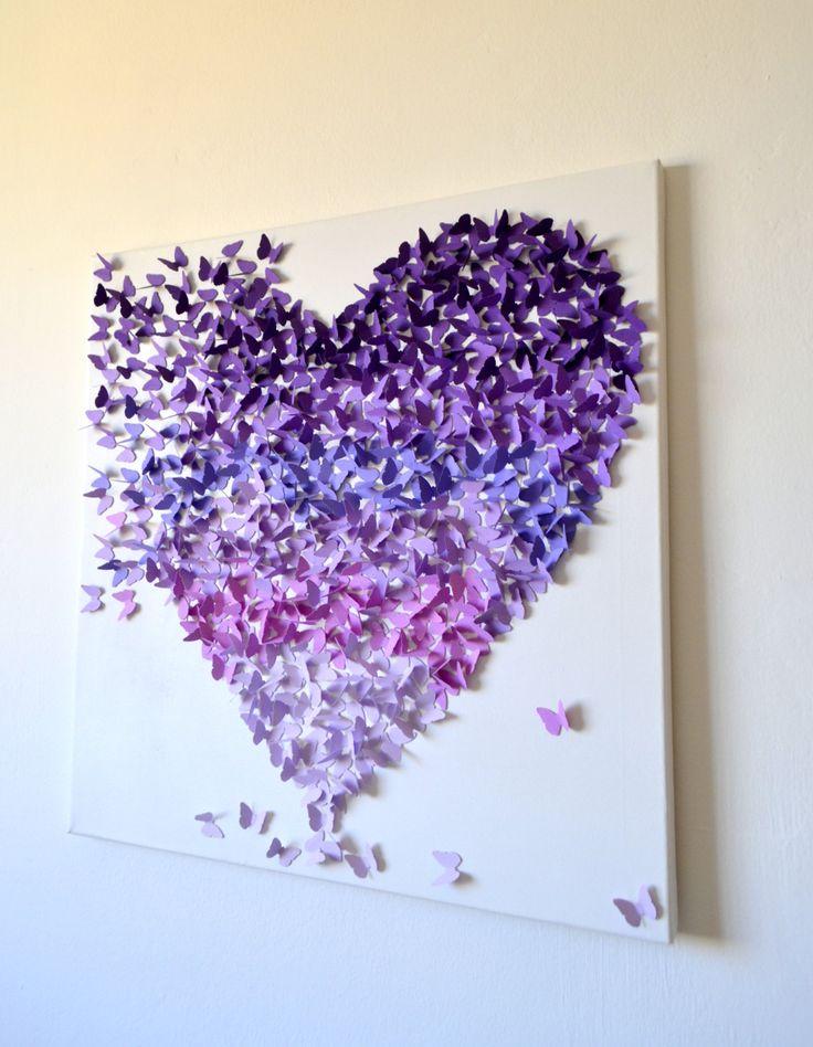 3D Purple Ombre Butterfly Heart / 3D Butterfly Art / by RonandNoy, $210.00