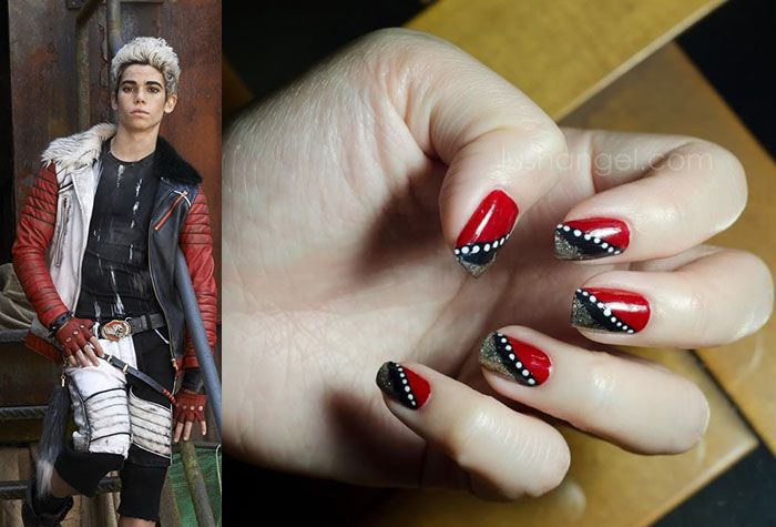 Cameron Boyce as his character Carlos De Vil from Disney's Descendants accompanied by a photo of red, silver and black nail art