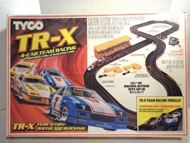 Tyco TR-X 4 Slot Car Team Racing Set Excellent Condition Complete 1985 Electric #TYCO