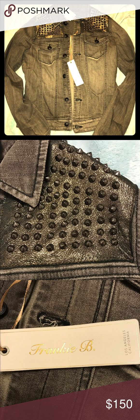 """Studded Black Jean Jacket - Frankie B. - NWT NWT, gold metallic and studded dusty black/charcoal jean jacket by Frankie B. Style is """"Armada"""". So stunning and I wish I could keep, but it just doesn't fit me! :( Sold out everywhere in this color and size. Frankie B. Jackets & Coats Jean Jackets"""