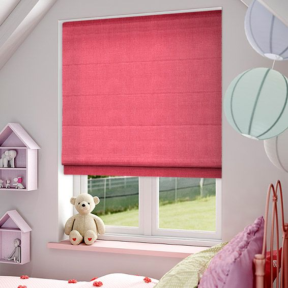 Definitely bright and definitely shocking, this fever pink roman blind offers a flash of feminine colour. Pink is incredibly in vogue at the moment and this vivid shade is a bold and vibrant option.