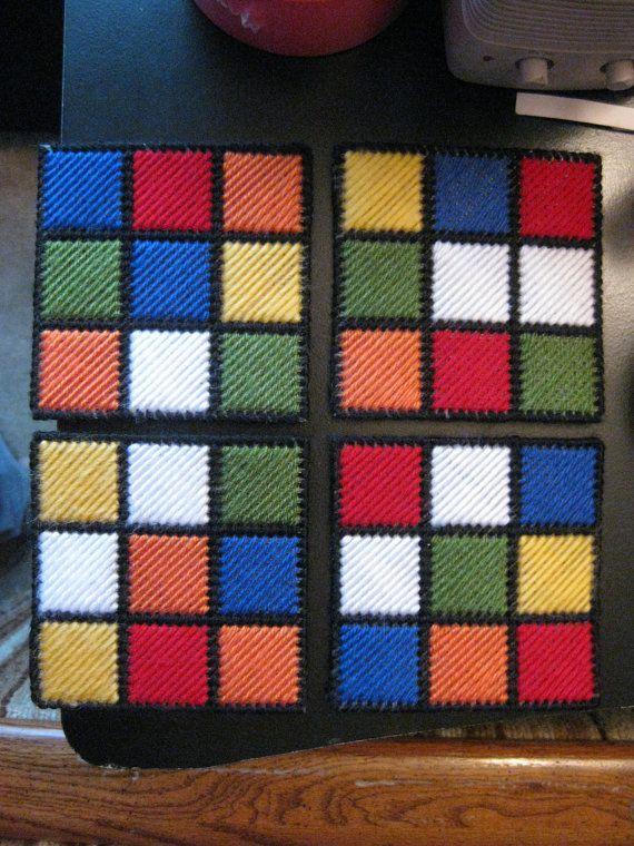Rubik cube coasters (plastic canvas, no pattern)
