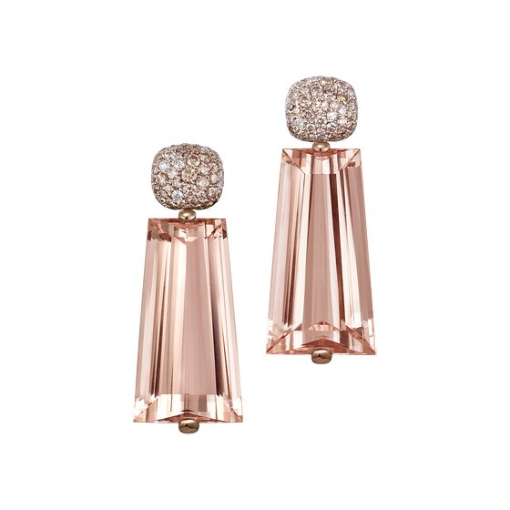 GABRIELLE'S AMAZING FANTASY CLOSET | Temple of Light Morganite and Diamond Pave Earrings in Rose Gold