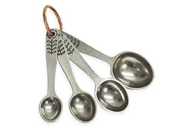 Flower Measuring Spoons on Scandinavian folk-art pattern lead-free pewter