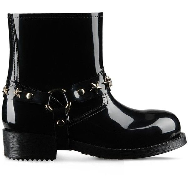 Redvalentino Rain Boots ($215) ❤ liked on Polyvore featuring shoes, boots, black, black shoes, black wellington boots, wellington boots, black rubber boots and rubber sole shoes