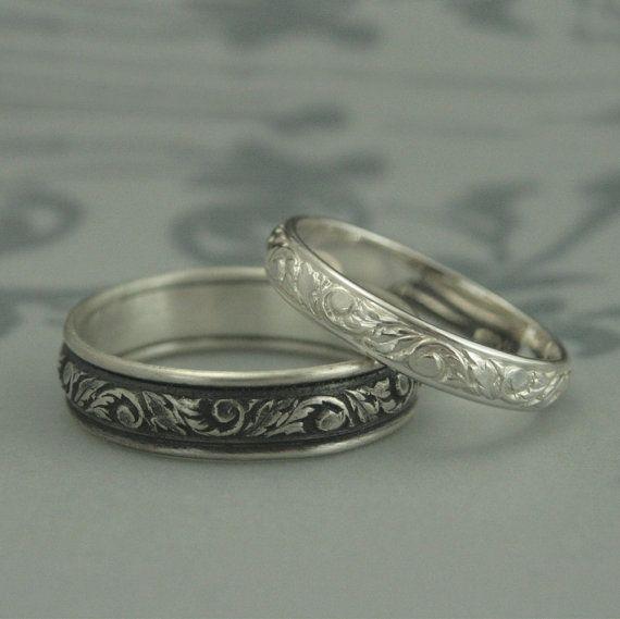 Silber Hochzeit BandBlatt gemustert EheringHerren von debblazer